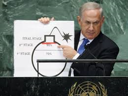 Netanyahu at the UN in 2012 uses a picture to make his case that Iran is close to developing atomic weapons.