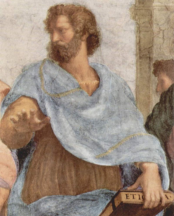 Aristotle.  Detail from The School of Athens by Raphael.