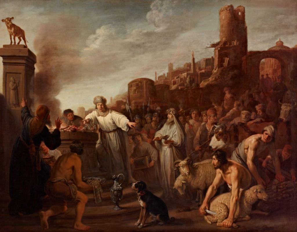 Jeroboam sacrificing to his idol, Claes Corneliszoon Moeyaert, 1641.